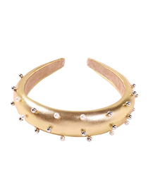 Fashion Gold Sponge Alloy Pearl Headband