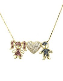 Fashion Gold Zirconium Boy Girl Necklace