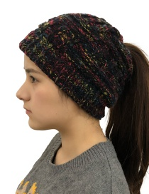 Fashion Color Black Warm Bamboo Wool Cap