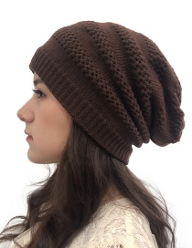 Fashion Coffee Openwork Knit Double Hat