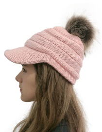 Fashion Pink Wool Ball Cap