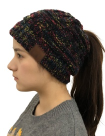 Fashion Color Black Cc Labeling Knitted Wool Cap