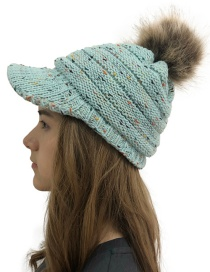 Fashion Light Blue Dot Color Point Mixed Color Hat 檐 Knit Hat