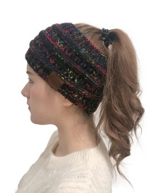 Fashion Black Flowers Cc Label Knitting Plus Pile Headband