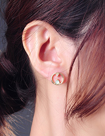 Fashion Gold Geometric Circle Stud Earrings In Sterling Silver