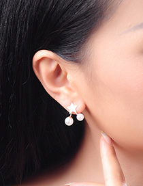 Fashion Gold S925 Sterling Silver Pearl Star Earrings