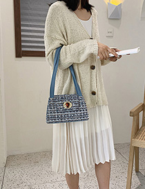 Fashion Small Blue Wool Check Buckle Shoulder Bag