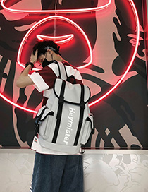Fashion Gray Letter Printed Ribbon Stitching Backpack