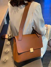 Fashion Brown Solid Color Shoulder Bag