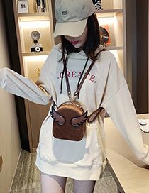 Fashion Coffee Color Suede Wings Backpack