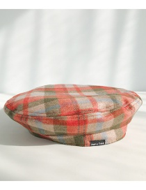 Fashion Innocent Red And Green Plaid Thin Woolen Plaid Beret