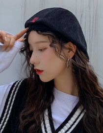 Fashion Corduroy Cap Black Thin Embroidered Letter Beret