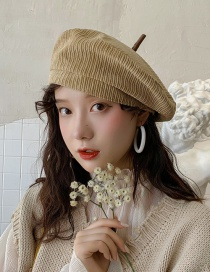 Fashion Cap Top With Khaki Corduroy Beret