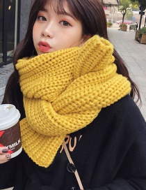 Fashion Classic Ingot Needle Yellow Knitted Thick Wool Scarf