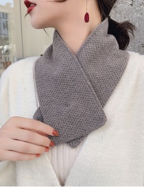 Fashion Dark Buckle Small Scarf Dark Gray Knitted Wool Scarf