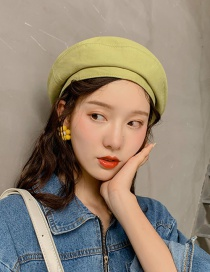 Fashion Solid Color Pleated Green Solid Color Flawless Beret