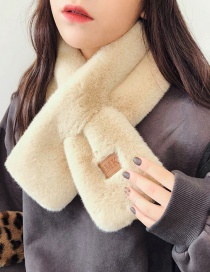 Fashion Solid Color Labeling Tops Beige Labeling Cross-like Rex Rabbit Plush Scarf