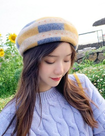 Fashion Dotted Stripes Beige Contrast Wool Beret