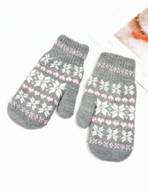 Fashion Dark Gray Knitted Double-layered Snowflake Mitt