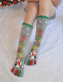 Fashion Snowman Gray Christmas Five-finger Socks In Stockings