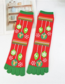 Fashion Balloon Red Christmas Five-finger Socks In Stockings