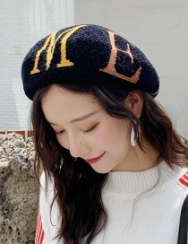 Fashion Chenille Big Letter Black Letter Knit Beret  Chenille