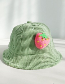 Fashion Strawberry Green Corduroy Three-dimensional Fruit Baby Fisherman Hat  Corduroy