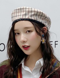 Fashion Double-sided Plaid Beige Double-sided Plaid Beret  Cotton