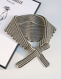Fashion Two-color Striped Black Rice Striped Knit Wool Triangle