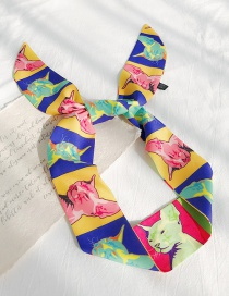 Fashion Red: Yellow And Blue Cat Head Cartoon Print Streamers Ribbon