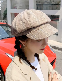 Fashion Light Plate Lattice Octagonal Beige Plaid Beret