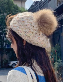 Fashion Colored Yarn Bere Beige Real Hair Ball Knitting Twist Wool Cap
