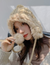 Fashion Rabbit Hair Twist Khaki Plush Knitted Wool Cap