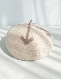 Fashion Four Arrows Beige Three-dimensional Arrow Woolen Beret