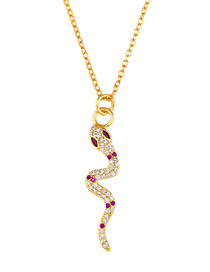 Fashion Golden Snake Diamond-shaped Snake Necklace