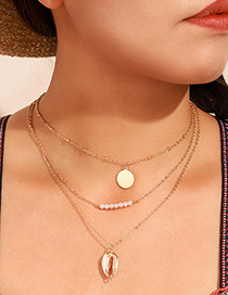 Fashion Gold Shell Pearl Round Multi-layer Necklace