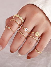 Fashion Gold Diamond Round Water Lace Flower Geometry Ring Set Of Eight