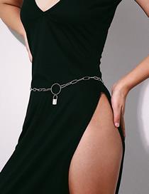 Fashion White K Round Lock Geometric Chain Waist Chain