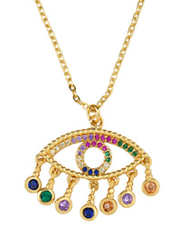 Fashion Eye Heart-shaped Diamond Necklace