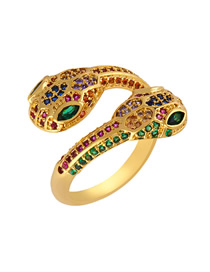 Fashion Snake Colored Zircon Snake Shaped Opening Ring