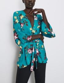 Fashion Blue Flower Print V-neck Shirt