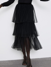 Fashion Black Dotted Tulle Long Skirt