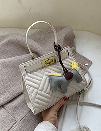 Fashion Creamy-white Embroidered Line Plaid Shoulder Bag