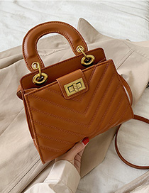 Brown Embroidery Line Shoulder Bag