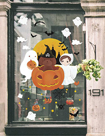 Fashion Multicolor Xl627ds Halloween Pumpkin Wall Sticker Can Be Removed