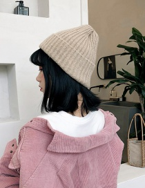 Fashion Mohair Khaki Knitted Wool Cap