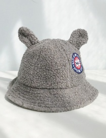 Fashion Lamb Hair Labeling Ear Dark Gray Lamb Cashmere Rabbit Ears Fisherman Hat
