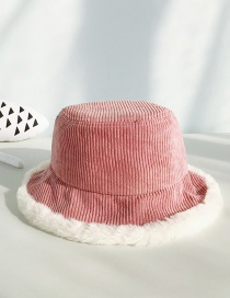 Fashion Corduroy Pink Imitation Rabbit Fur Stitching Flat Top Children's Big Pot Cap