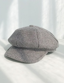 Fashion Milled Houndstooth Dark Gray Plaid Beret