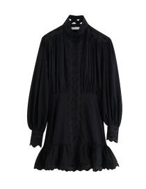 Fashion Black High Collar Lantern Sleeves Openwork Stitching Dress